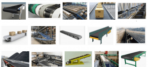 The image of conveyor belts and pulleys
