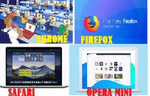WEB BROWSERS- Chrome, Firefox, Safari, and Opera mini